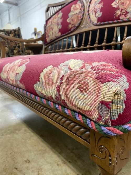 Victorian Style Antique Embroidered Carved Wood Bench