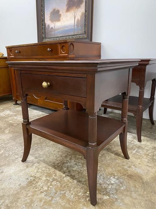 Deep Mahogany Wood End Tables, High End Custom Nightstands (Pair)