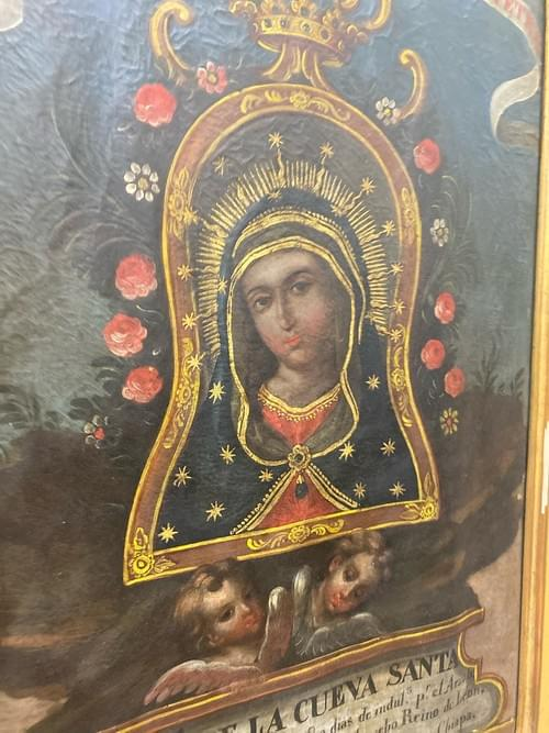 Oil on Canvas 19th Century Spanish Colonial Madonna