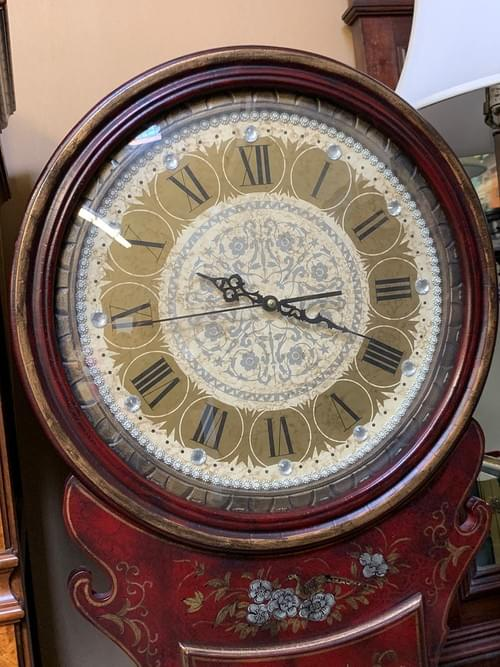 Asian Inspired Clock with a Deep Cherry Color