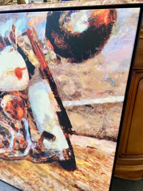 Metal Framed Abstract Motorcycle Canvas Painting