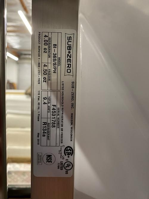 """Sub Zero 36"""" Classic Side-by-Side Refrigerator/Freezer"""