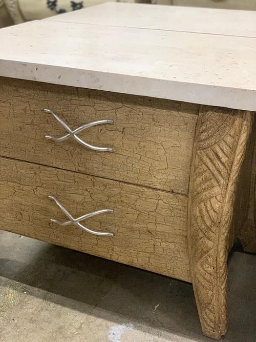 Pair of Nightstands with Marble Top