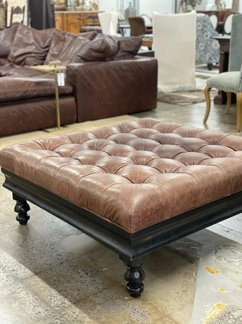 Z-Gallerie Leather Tufted Ottoman