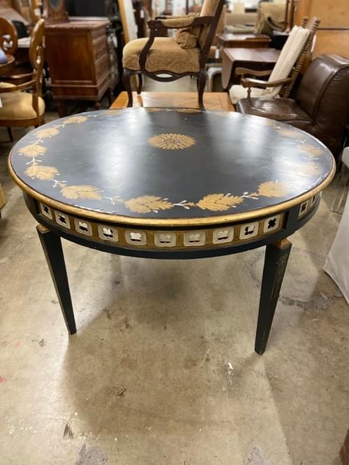 Vintage Hand Painted Round Entry Table With Cut Out Motifs