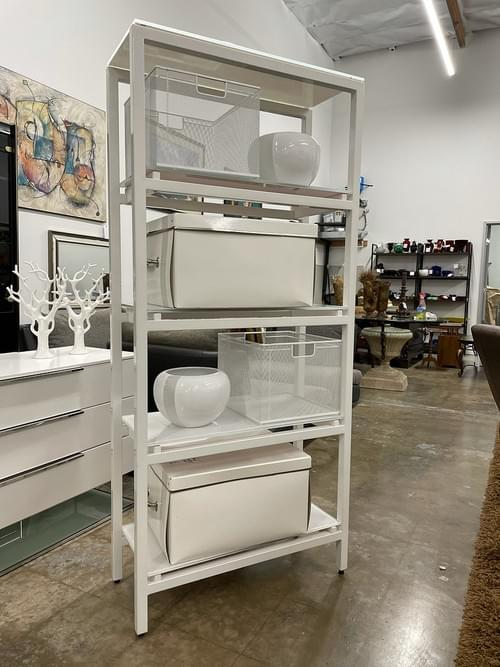 Modern White Powder Coated Steel Bookshelf with Frosted Glass Shelves