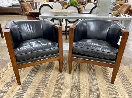 Theodore Alexander Furniture Leather Nailhead ChairS (Pair)