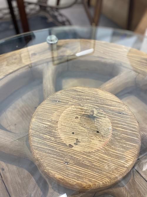 Vintage Rustic Nautical Wheel Side Table