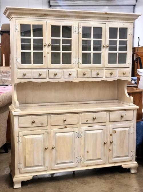 Country Style White Wash Buffet Hutch