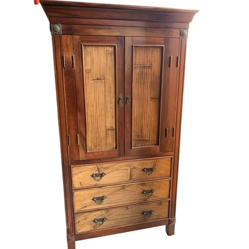 Two Toned Armoire, Media Cabinet with Drawers