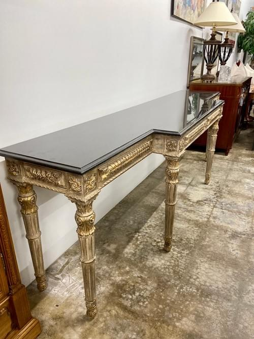 Long Black Granite Top Sideboard With Hand-carved Detailing & Gold Accents