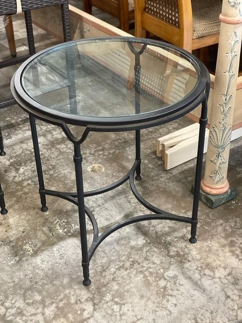 Round Side Tables Metal Base Glass Top (Pair)