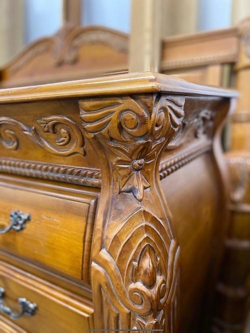 Handcarved Oak Tallboy Dresser