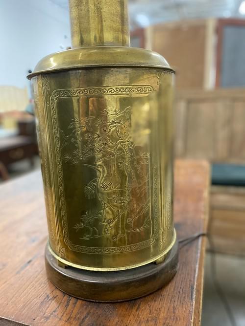 Vintage Farmhouse Rustic Gold Base Lamp
