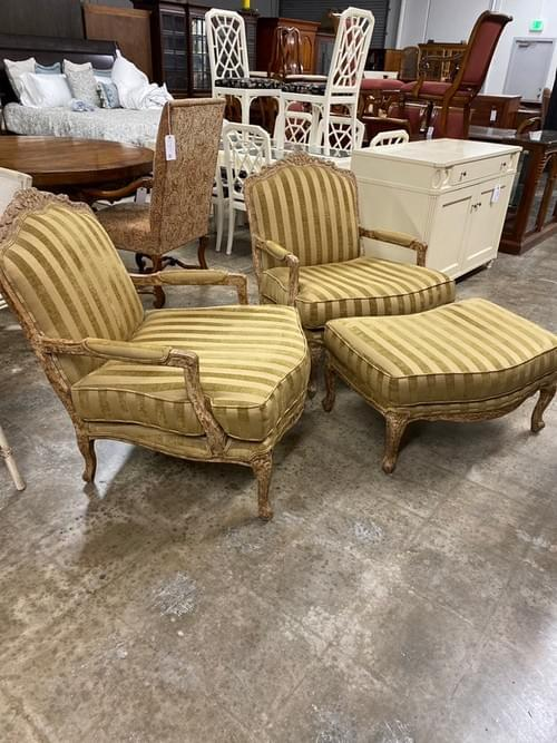 Ital Art Design Antique Inspired Arm Chairs & Ottoman