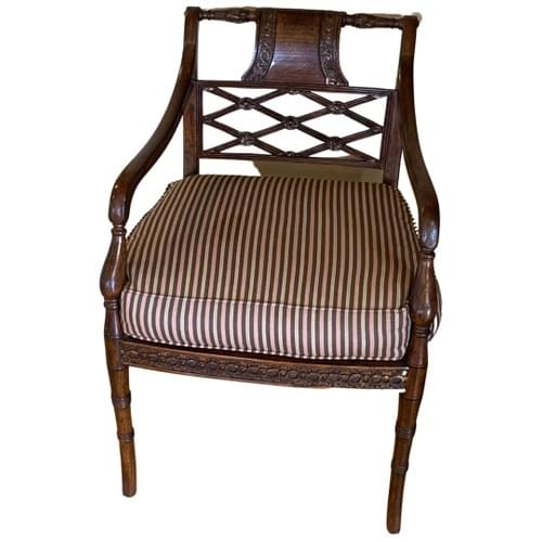 Arm Side Chair with Striped Cushion