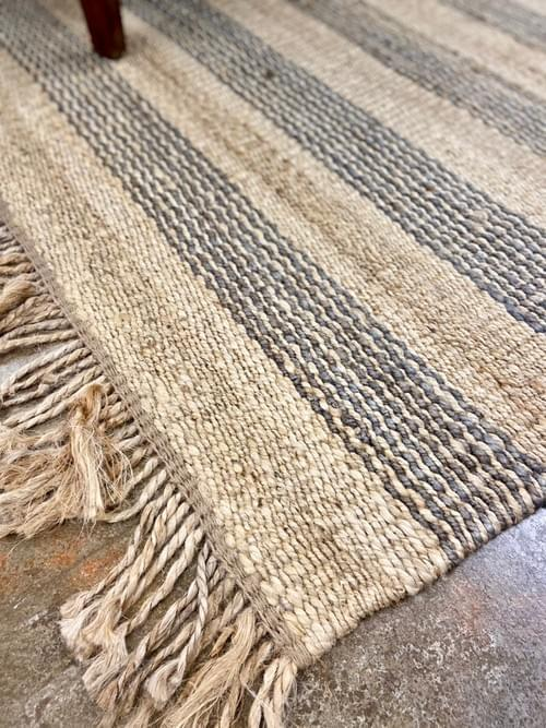 Jute Area Rug with stripes 6x9