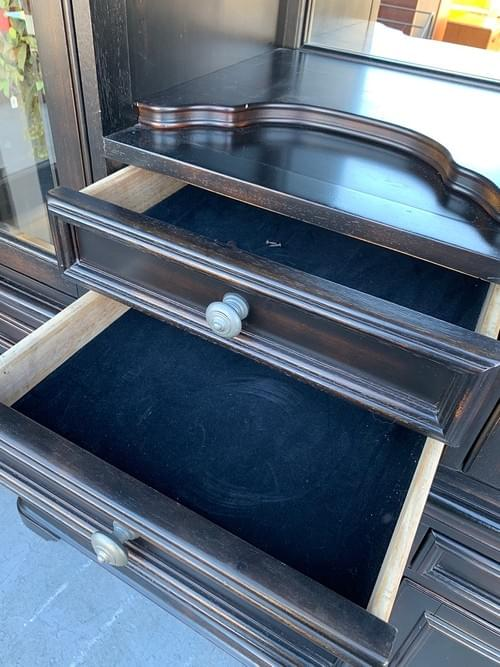 Dark Wood Hutch with Storage and Wine Rack