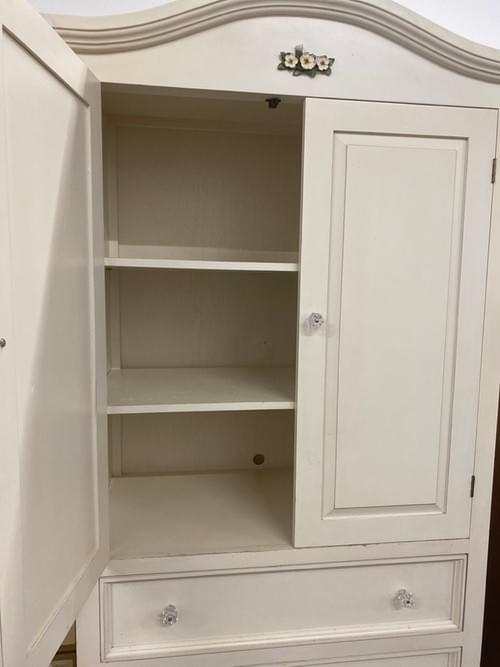 Country White Armoire with Large Drawers