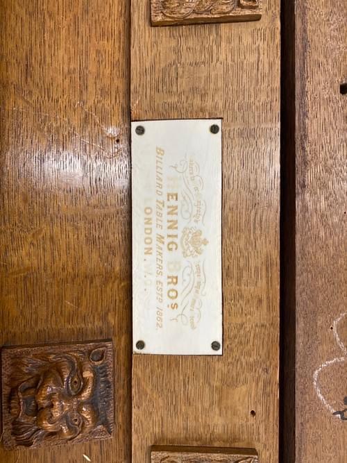 Antique Hennig Brothers Lion Head Slate 8ft Pool Table