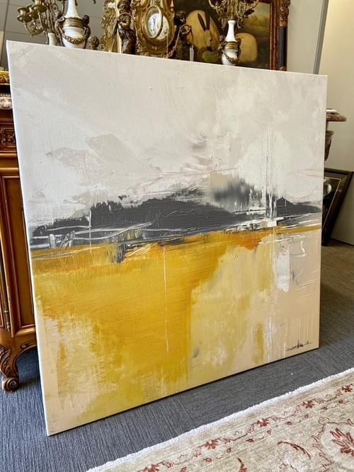 Restoration Hardware White, Grey And, Orange Canvas Painting