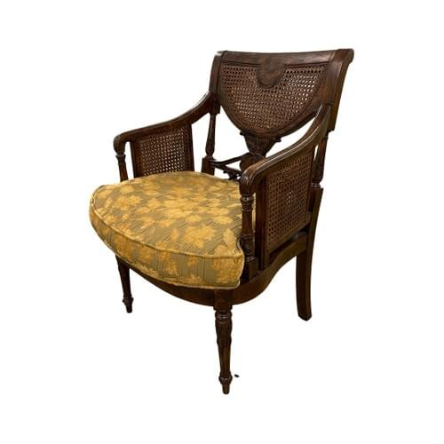 Arm Chair with Golden Mustard Floral Print Cushion