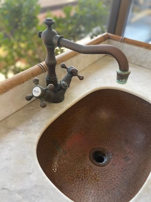 Freestanding Antique Cooper/Marble Sink