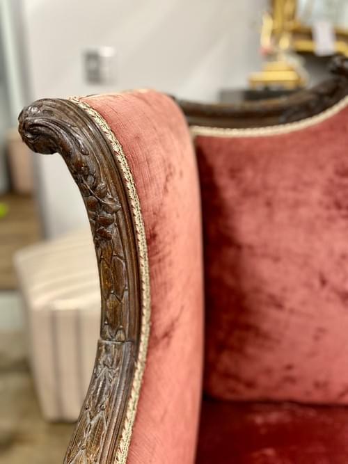 Antique Purple Velvet & Hand Carved French Sofa Loveseat