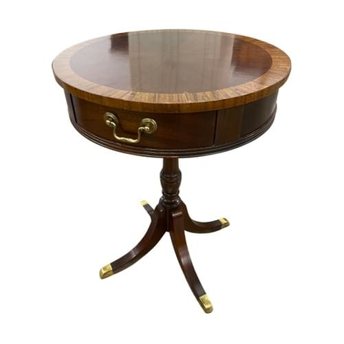 Antique Round Drum Side End Accent Table, Finial Feet