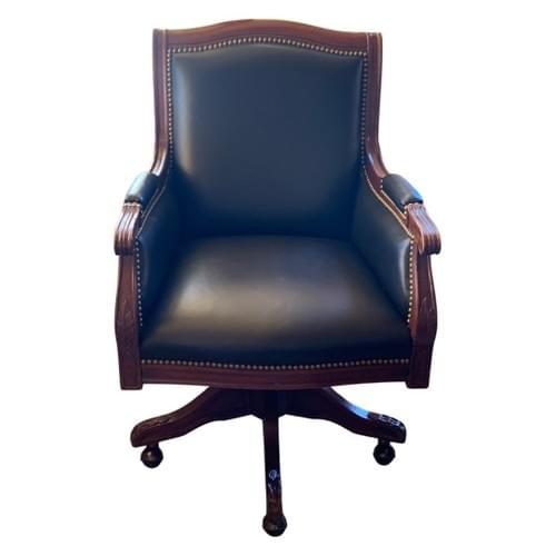 Leather Office Desk Chair with Nailheads