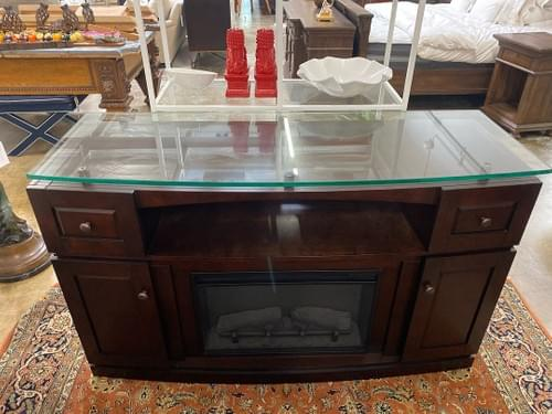 Electric Fireplace Media Console with Glass Top