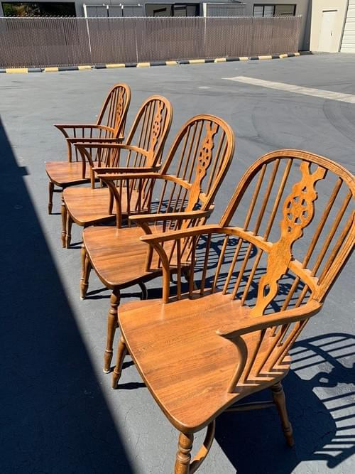 Wooden Dining Chairs with Arms (Set of 4)