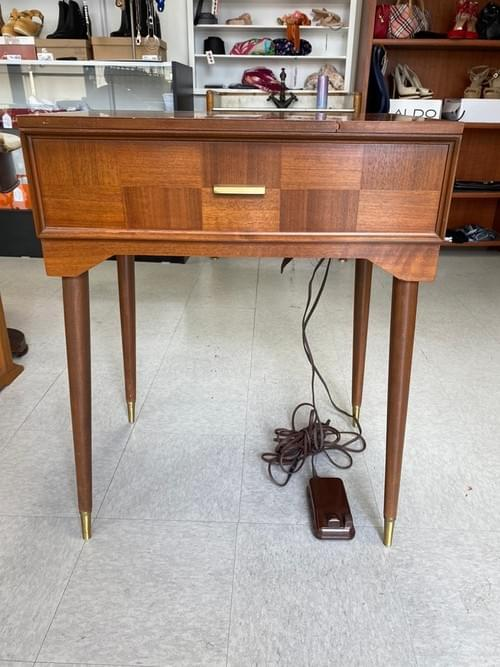 Vintage Mid-Century Modern Singer Sewing Machine & Table