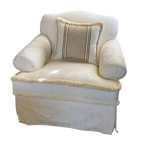 Pair of White Fringed Sofa Arm Chairs