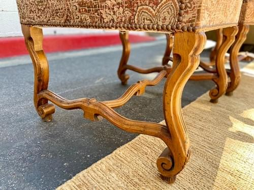 Hand Carved Accent Chairs With Organic Floral Upholstery & Nailhead Detailing (Set)