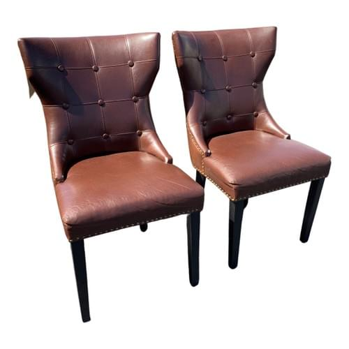 Pair of Brown Leather Chairs with Nailheads