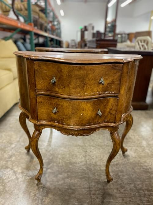 Pair of Italian Bedside Tables Inlaid Furniture Antique Two Drawers