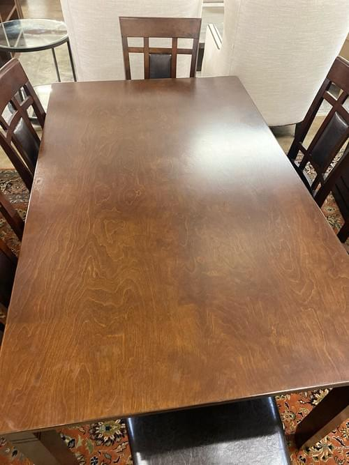Crown Mark Breakfast Kitchen Dining Table with 6 Leather Chairs