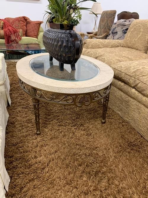 Stone Top with Glass Coffee Table with Copper Metal Base