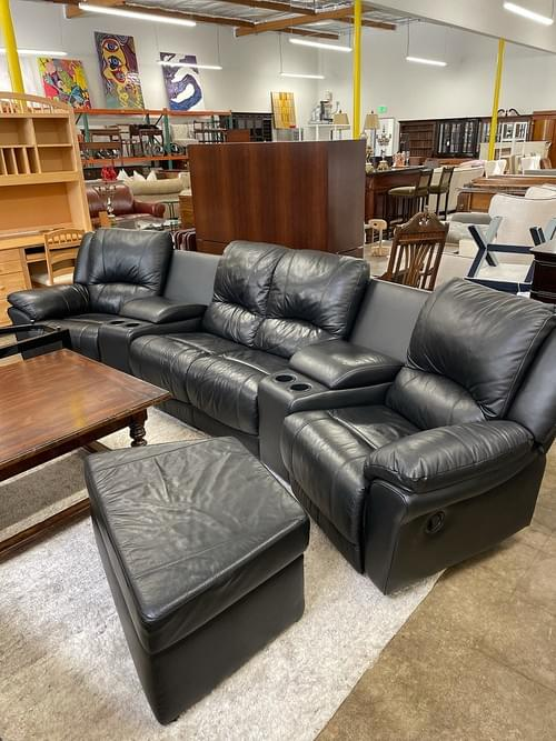 Black Leather Reclining Sectional with Ottoman