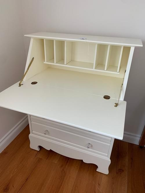 White Wood Slant Desk with Storage & Chest of Drawers