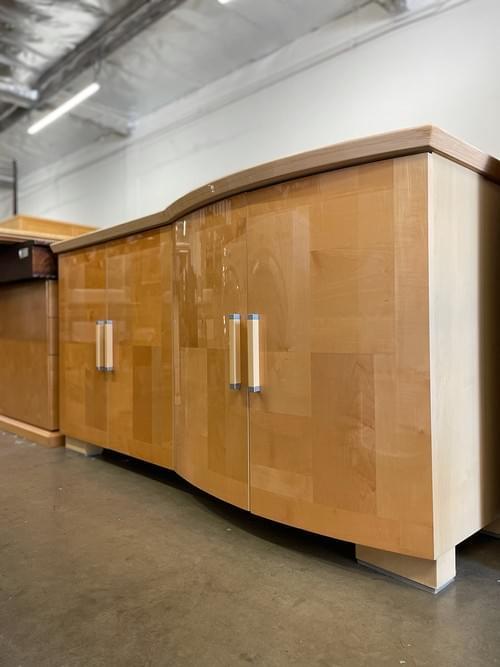 Alf Italia Design Modern Light Wood Asymmetrical Credenza Buffet Sideboard