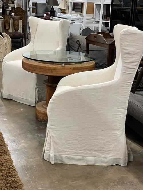 High-End Designer Upholstered Chairs on Casters (Pair)