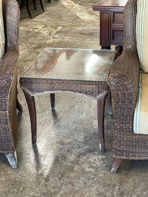 Outdoor Brown Wicker Club Chair Set with Side Table