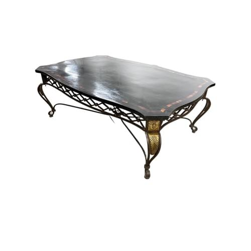 Dark Coffee Table with Gold Accented Frame with Finials