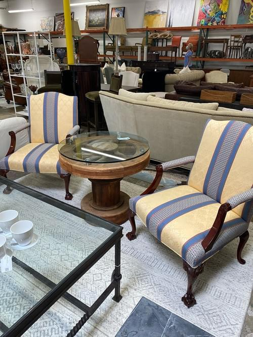 Kindel Furniture Co Chippendale Library Arm Chairs (Pair)