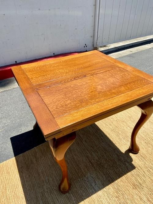 Antique Wood Dining Table With Built-in Leaf