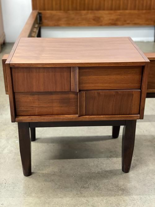 MCM Inspired Bed Room Set, Full Size Bed, 2 Nightstands, Tall Dresser