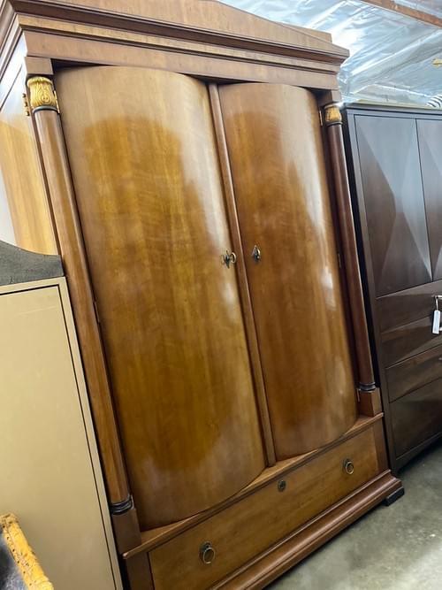 Henredon Arcadia Collection Art Deco Light Cherry Solid Wood Armoire Wardrobe