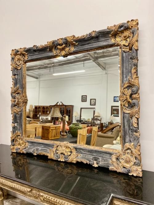 Large Neoclassical Black & Gold Accent Mirror